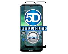 Apsauga ekranui gaubtas grūdintas stiklas Nokia 2.3 mobiliesiems telefonams juodos spalvos 5D pilnas padengimas klijais