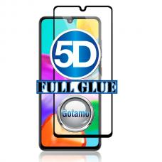 Apsauga ekranui gaubtas grūdintas stiklas Samsung Galaxy A21 mobiliesiems telefonams juodos spalvos 5D pilnas padengimas klijais