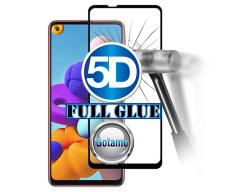 Apsauga ekranui gaubtas grūdintas stiklas Samsung Galaxy A21s mobiliesiems telefonams juodos spalvos 5D pilnas padengimas klijais