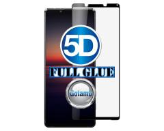 Apsauga ekranui gaubtas grūdintas stiklas Sony Xperia 1 II mobiliesiems telefonams juodos spalvos 5D pilnas padengimas klijais