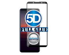 Apsauga ekranui gaubtas grūdintas stiklas Sony Xperia 5 II mobiliesiems telefonams juodos spalvos 5D pilnas padengimas klijais