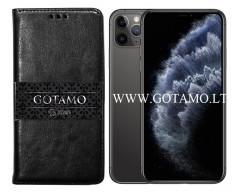 Gotamo D-gravity natūralios odos dėklas Apple iPhone 11 Pro Max mobiliesiems telefonams juodos spalvos