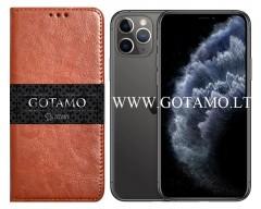 Gotamo D-gravity natūralios odos dėklas Apple iPhone 11 Pro mobiliesiems telefonams rudos spalvos