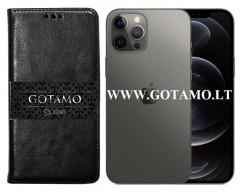 Gotamo D-gravity natūralios odos dėklas Apple iPhone 12, Apple iPhone 12 Pro mobiliesiems telefonams juodos spalvos