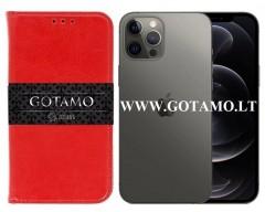 Gotamo D-gravity natūralios odos dėklas Apple iPhone 12, Apple iPhone 12 Pro mobiliesiems telefonams raudonos spalvos