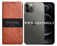 Gotamo D-gravity natūralios odos dėklas Apple iPhone 12, Apple iPhone 12 Pro mobiliesiems telefonams rudos spalvos