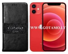 Gotamo D-gravity natūralios odos dėklas Apple iPhone 12 mini mobiliesiems telefonams juodos spalvos