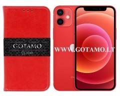 Gotamo D-gravity natūralios odos dėklas Apple iPhone 12 mini mobiliesiems telefonams raudonos spalvos