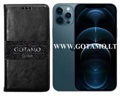 Gotamo D-gravity natūralios odos dėklas Apple iPhone 12 Pro Max mobiliesiems telefonams juodos spalvos