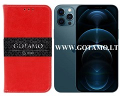 Gotamo D-gravity natūralios odos dėklas Apple iPhone 12 Pro Max mobiliesiems telefonams raudonos spalvos