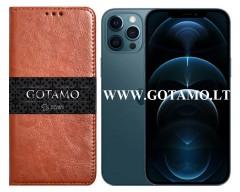 Gotamo D-gravity natūralios odos dėklas Apple iPhone 12 Pro Max mobiliesiems telefonams rudos spalvos