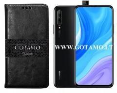 Gotamo D-gravity natūralios odos dėklas Huawei P Smart Pro (2019) Huawei Y9 Prime mobiliesiems telefonams juodos spalvos