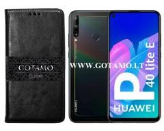 Gotamo D-gravity natūralios odos dėklas Huawei P40 Lite E Huawei Y7P mobiliesiems telefonams juodos spalvos