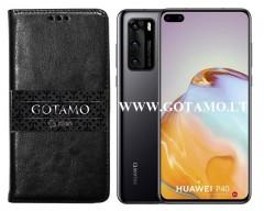 Gotamo D-gravity natūralios odos dėklas Huawei P40 mobiliesiems telefonams juodos spalvos