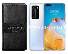 Gotamo D-gravity natūralios odos dėklas Huawei P40 Pro mobiliesiems telefonams juodos spalvos
