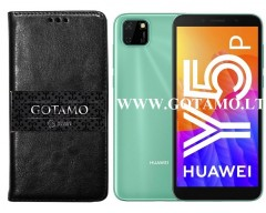 Gotamo D-gravity natūralios odos dėklas Huawei Y5p mobiliesiems telefonams juodos spalvos