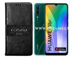 Gotamo D-gravity natūralios odos dėklas Huawei Y6p mobiliesiems telefonams juodos spalvos