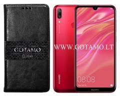 Gotamo D-gravity natūralios odos dėklas Huawei Y7 (2019) mobiliesiems telefonams juodos spalvos