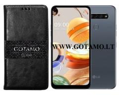 Gotamo D-gravity natūralios odos dėklas LG K61 mobiliesiems telefonams juodos spalvos