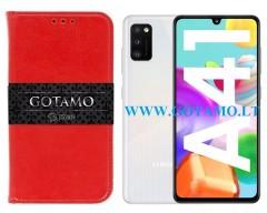 Gotamo D-gravity natūralios odos dėklas Samsung Galaxy A41 mobiliesiems telefonams raudonos spalvos