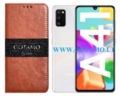 Gotamo D-gravity natūralios odos dėklas Samsung Galaxy A41 mobiliesiems telefonams rudos spalvos