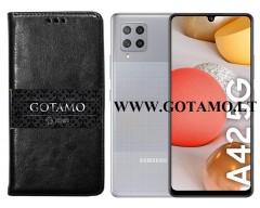 Gotamo D-gravity natūralios odos dėklas Samsung Galaxy A42 5G mobiliesiems telefonams juodos spalvos