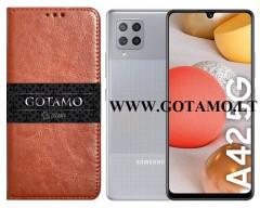 Gotamo D-gravity natūralios odos dėklas Samsung Galaxy A42 5G mobiliesiems telefonams rudos spalvos