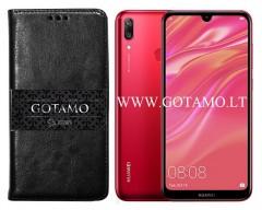 Gotamo D-gravity natūralios odos dėklas Samsung Galaxy J4+ (2018) mobiliesiems telefonams juodos spalvos