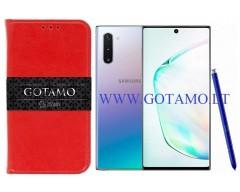 Gotamo D-gravity natūralios odos dėklas Samsung Galaxy Note 10 mobiliesiems telefonams raudonos spalvos