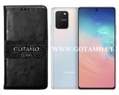 Gotamo D-gravity natūralios odos dėklas Samsung Galaxy S10 Lite mobiliesiems telefonams juodos spalvos