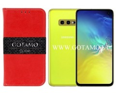 Gotamo D-gravity natūralios odos dėklas Samsung Galaxy S10e mobiliesiems telefonams raudonos spalvos