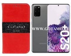 Gotamo D-gravity natūralios odos dėklas Samsung Galaxy S20+ mobiliesiems telefonams raudonos spalvos