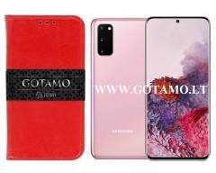 Gotamo D-gravity natūralios odos dėklas Samsung Galaxy S20 mobiliesiems telefonams raudonos spalvos
