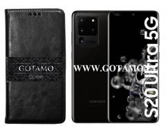 Gotamo D-gravity natūralios odos dėklas Samsung Galaxy S20 Ultra mobiliesiems telefonams juodos spalvos