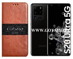 Gotamo D-gravity natūralios odos dėklas Samsung Galaxy S20 Ultra mobiliesiems telefonams rudos spalvos