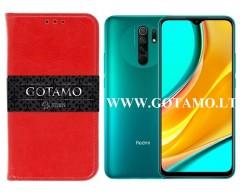 Gotamo D-gravity natūralios odos dėklas Xiaomi Redmi 9 mobiliesiems telefonams raudonos spalvos