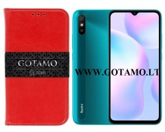 Gotamo D-gravity natūralios odos dėklas Xiaomi Redmi 9A mobiliesiems telefonams raudonos spalvos