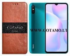Gotamo D-gravity natūralios odos dėklas Xiaomi Redmi 9A mobiliesiems telefonams rudos spalvos