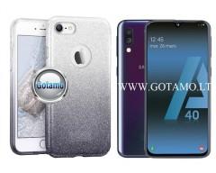 iLLuminaTe silikoninis dėklas nugarėlė Samsung Galaxy A40 telefonams sidabro spalvos