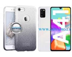 iLLuminaTe silikoninis dėklas nugarėlė Samsung Galaxy A41 telefonams sidabro spalvos