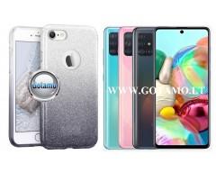 iLLuminaTe silikoninis dėklas nugarėlė Samsung Galaxy A71 telefonams sidabro spalvos