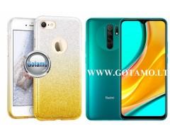iLLuminaTe silikoninis dėklas nugarėlė Xiaomi Redmi 9 telefonams aukso spalvos