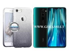 iLLuminaTe silikoninis dėklas nugarėlė Xiaomi Redmi Note 8 Pro telefonams sidabro spalvos
