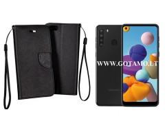 Manager dėklas Samsung Galaxy A21 mobiliesiems telefonams juodos spalvos