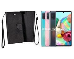 Manager dėklas Samsung Galaxy A71 mobiliesiems telefonams juodos spalvos