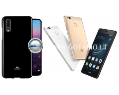 Mercury Jelly dėklas nugarėlė Huawei P9 Lite telefonui juodos spalvos