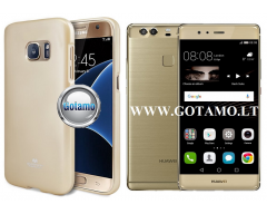Mercury Jelly dėklas nugarėlė Huawei P9 Plus telefonui aukso spalvos