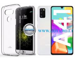 Mercury Jelly dėklas nugarėlė Samsung Galaxy A41 telefonui skaidrus