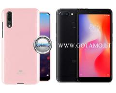 Mercury Jelly dėklas nugarėlė Xiaomi Redmi 6 6A telefonui rožinės spalvos