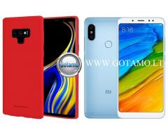 Mercury Jelly dėklas nugarėlė Xiaomi Redmi Note 5 Xiaomi Redmi Note 5 Pro telefonui raudonos spalvos